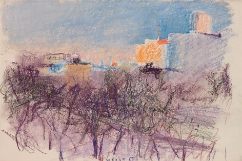 """""""Stuyvesant Park,"""" 1967, Pastel on paper, 12 x 18 inches, 30.5 x 45.7 cm, A/Y#20209"""