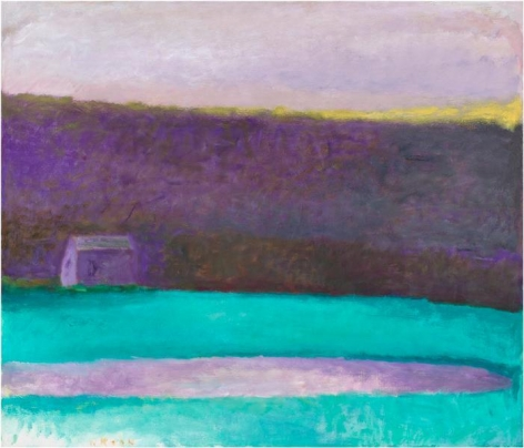 Sauna Shed at Dusk, 1990, Oil on canvas, 36 x 42 inches, 91.4 x 106.7 inches, A/Y#10307