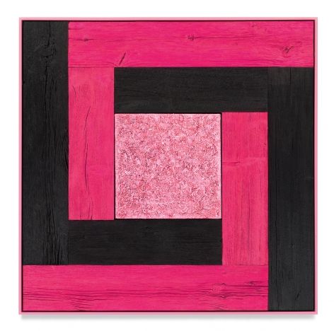 Untitled (Tree Painting-Double L, Pink and Black), 2020, Oil on linen and acrylic stain on reclaimed wood with artist frame, 51 1/4 x 51 1/4 inches, 130.2 x 130.2 cm, MMG#33175
