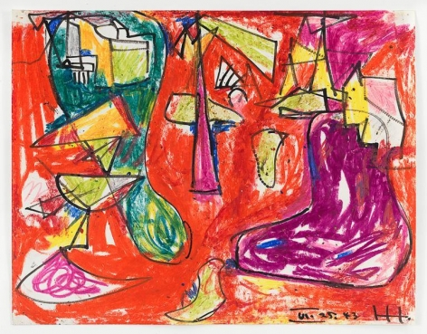 Red, Purple and Green, 1943, Crayon and ink on paper, 11 x 14 inches, 27.9 x 35.6 cm, AMY#15038