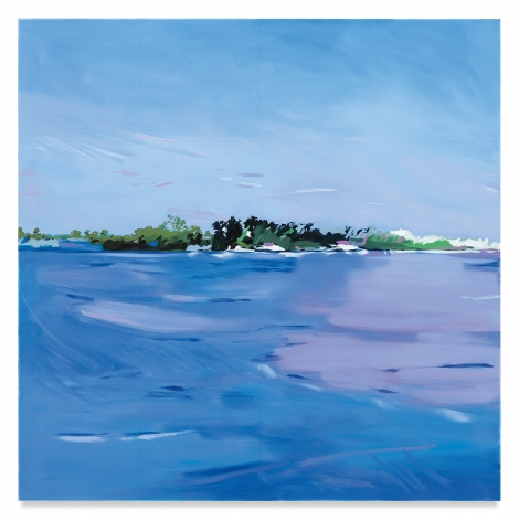 Isca Greenfield-Sanders, Island, 2020, Mixed media oil on canvas, 63 x 63 inches, 160 x 160 cm, MMG#32041