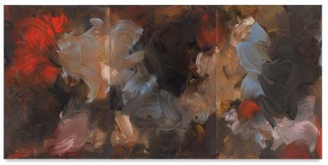 night garden/flight, 2018,Oil on canvas,74 3/4 x 153 1/2 inches,190 x 390 cm,MMG#30958