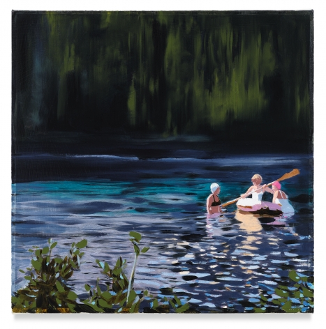 Paddlers, 2019, Mixed media oil on canvas, 14 x 14 inches, 35.6 x 35.6 cm, (MMG#32074)
