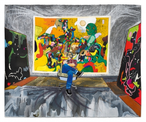 Michael Bauer in the Studio, 2020, Colored pencil, oil paint and pastel on paper, 44 3/4 x 54 inches, 113.7 x 137.2 cm, MMG#32641