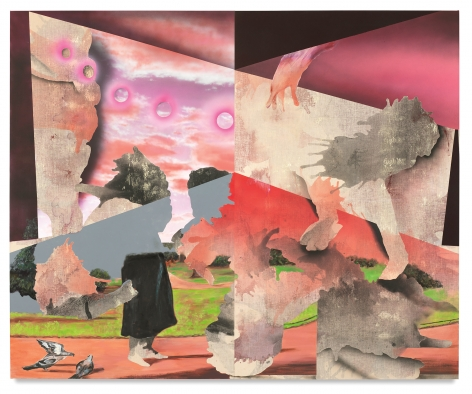 The Herd, The Heard, The Hoard, 2018,Oil, vinyl paint, acrylic, enamel spray paint and charcoal on linen,82 x 100 inches,208.3 x 254 cm,Diptych, MMG#30032