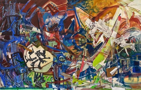 """Somnambulists,"" 2012, Acrylic, dry pigment, collage and oil stick on canvas, 45 x 70 inches, 114.3 x 177.8 cm, A/Y#20122"