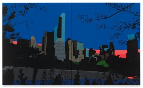 Brian Alfred, Central Park at Dusk, 2019, Acrylic on canvas