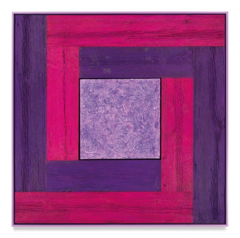 Untitled (Tree Painting-Double L, Magenta, Purple, and Lavender), 2021, Oil on linen and acrylic stain on reclaimed wood with artist frame, 54 3/8 x 54 3/8 inches, 138.1 x 138.1 cm, MMG#33176