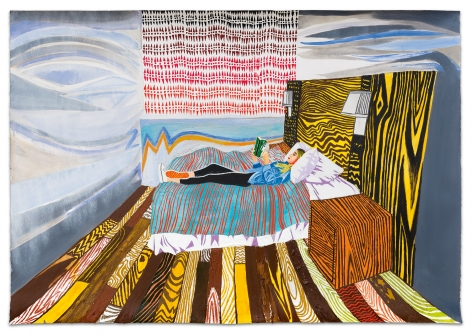 Sophia Reading, 2020, Colored pencil, oil paint and pastel on paper, 36 x 51 1/2 inches, 91.4 x 130.8 cm, MMG#32642