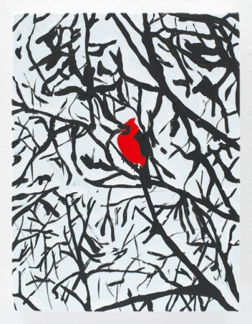 Cardinal in a Snow Storm, 2016, Acrylic on canvas, 12 x 9 inches, 30.5 x 22.9 cm, AMY#28137