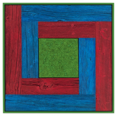 Untitled (Double L), 2020, Oil on linen and acrylic stain on reclaimed wood with artist frame, 33 7/8 x 33 7/8 inches, 86 x 86 cm, MMG#32873