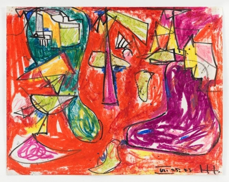 Hans Hofmann, Red, Purple and Green, 1943, Crayon and ink on paper, 11 x 14 inches, 27.9 x 35.6 cm, AMY#15038