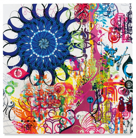 Ryan McGinness, Mindscape 26, 2019, Acrylic and metal leaf on linen, 72 x 72 inches, 182.9 x 182.9 cm, MMG#31662