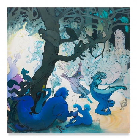 Inka Essenhigh, Fairy Procession, 2016, Oil and enamel on panel