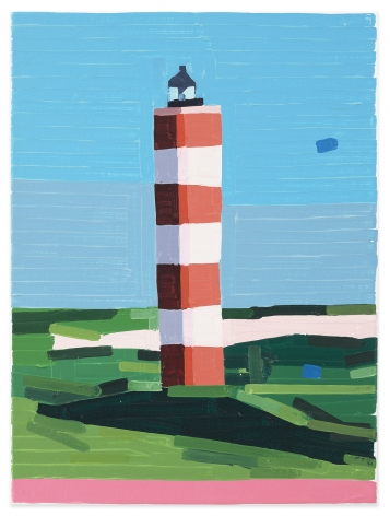 Jean-Dominique Bauby Lighthouse (Berck Sur-Mer), 2020, Oil on canvas, 15 3/4 x 11 7/8 inches, 40 x 30 cm,MMG#32648