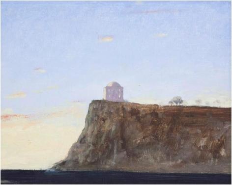 Julio Larraz, Punta Agravox, 2011, Oil on masonite, 11 x 13 1/2 inches, 27.9 x 34.3 cm, A/Y#22189