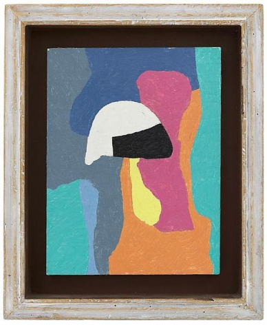 """""""Under water,"""" 1984 #14, Oil on panel, framed: 11 7/8 x 9 7/8 inches, 30.2 x 25.1 cm, A/Y#19818"""