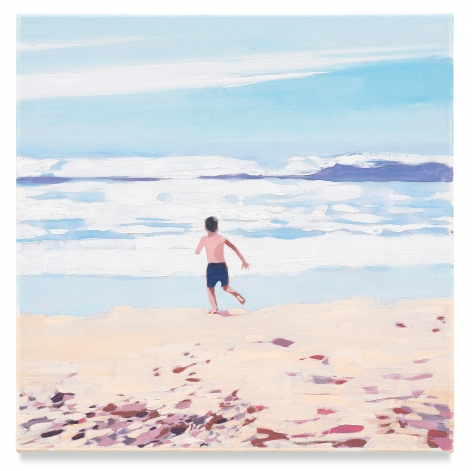 Boy Beach, 2019, Mixed media oil on canvas, 14 x 14 inches, 35.6 x 35.6 cm, (MMG#32079)