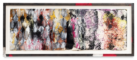 Year of the Rat 8, 2018,Vintage Indian paper, oil stick, encaustic, vintage Indian paper, in artist's frame, 13.5 x 33 inches,