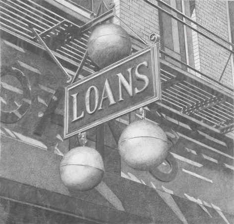 Loans, 2013, Graphite on Vellum, 15 3/8 x 16 1/4 inches, 39.1 x 41.3 cm, AMY#29118