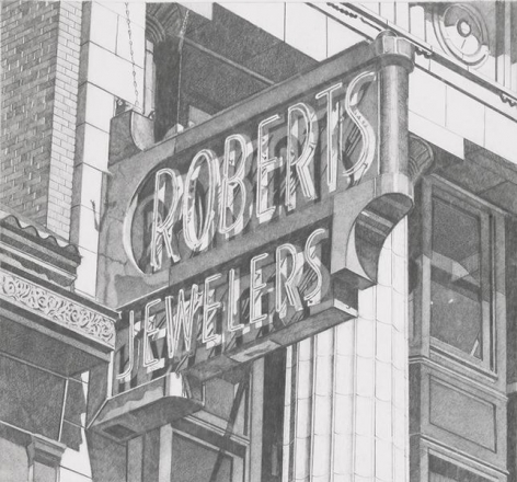 Roberts Jewelers (Vertical), 2013, Graphite on Vellum, 16 1/8 x 17 3/8 inches, 41 x 44.1 cm, AMY#29127