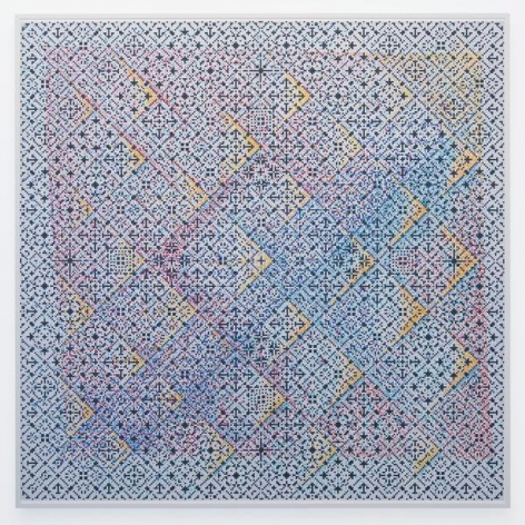 Crossword, 2015, Watercolor on paper mounted on archival Tycore, 75 1/2 x 76 1/4 inches, 191.8 x 193.7 cm, AMY#27976