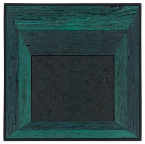 Untitled (Tree Painting - Turquoise), 2020, Oil on linen and acrylic stain on reclaimed wood with artist frame, 33 5/8 x 33 5/8 inches, 85.4 x 85.4 cm, MMG#32875