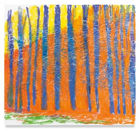 Wolf Kahn, Exchange, Orange and Blue, 2019, oil on canvas