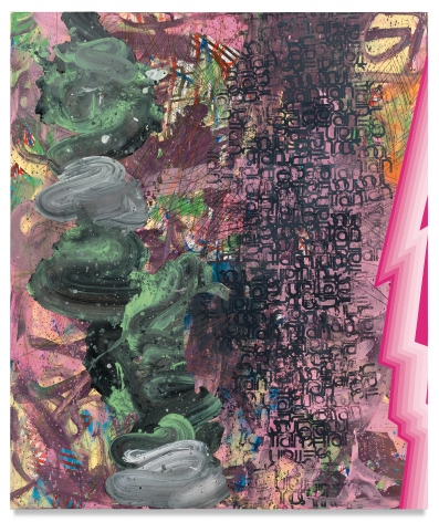 Afro Hippie, 2017, Acrylic, oil, spray paint, glitter, collage, crayon, graphite on canvas, 72 x 60 inches, 182.9 x 152.4 cm, MMG#31522