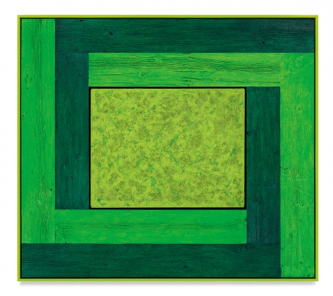 Untitled (Tree Painting-Double L, 3 Greens), 2021, Oil on linen and acrylic stain on reclaimed wood with artist frame, 63 1/4 x 71 1/4 inches, 160.7 x 181 cm, MMG#33108