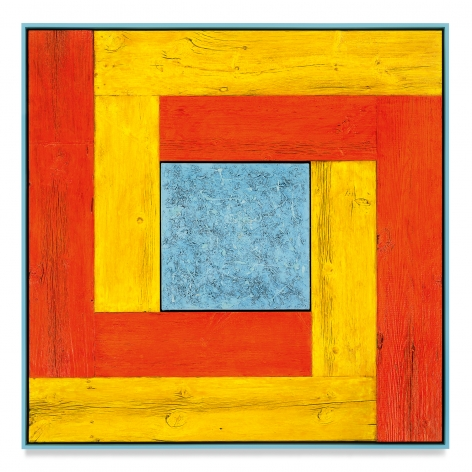 Untitled (Tree Painting-Double L, Yellow, Orange, and Light Blue), 2021, Oil on linen and acrylic stain on reclaimed wood with artist frame, 52 1/4 x 52 1/4 inches, 132.7 x 132.7 cm, MMG#33172