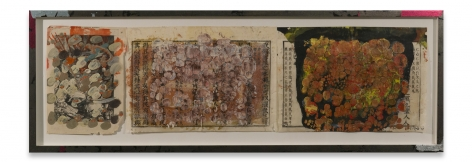 +'s & -'s #22, 2018, Chinese book papers, oil stick, encaustic in artist's frame, 13 1/2 x 39 3/4 inches, 34.3 x 101 cm, MMG#30908