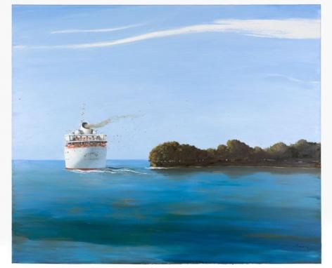 Julio Larraz, Where the Santa Ana Meets the Sea, 2014, Oil on canvas, 60 x 72 inches, 152.4 x 182.9 cm, A/Y#22030