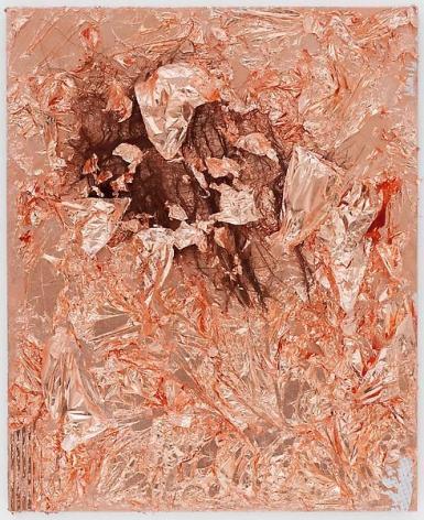 """TAM VAN TRAN, """"Matrix Flowers 6,"""" 2013, Copper, palm leaf, and cardboard on canvas, 27 1/4 x 22 1/4 inches, 69.2 x 56.5 cm, A/Y#20870"""