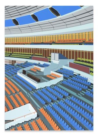 Daniel Rich, Stadium, Pyongyang, 2018, Acrylic on Dibond, 84 x 60 inches, 213.4 x 152.4 cm, MMG#31306
