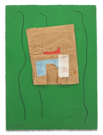 Robert Motherwell, Bowes & Bowes with Green, 1968/ca. 1973, Acrylic, pasted papers, crayon, and graphite on board, 30 1/2 x 22 3/8 inches, 77.5 x 56.8 cm, MMG#17688,