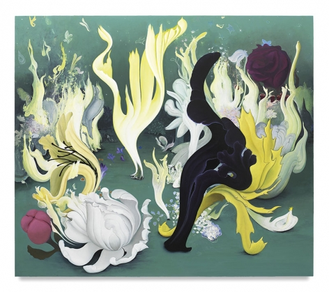 Party of the Flames and Flowers, 2017, Enamel on canvas, 48 x 55 inches, 121.9 x 139.7 cm, MMG#29634