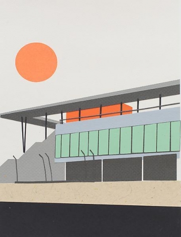 Brian Alfred, Red Sun Over Track, 2014, Collage, 10 1/4 x 7 3/4 inches, 26 x 19.7 cm, A/Y#21515