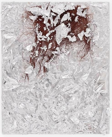 """Matrix Flowers 7,"" 2013, Aluminum foil, palm leaf, and cardboard on canvas, 27.25 x 22.25 inches, 69.2 x 56.5 cm, A/Y#20871"