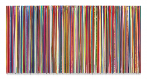 TIMEISASOCIALINSTITUTION, 2018, Epoxy resin and pigments on wood, 48 x 96 inches,121.9 x 243.8 cm,MMG#30399