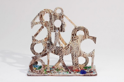 """TAM VAN TRAN, """"Soldier 5,"""" 2012-13, Low-fired glazed ceramic and glass, 18 x 18 1/2 x 6 3/4 inches, 45.7 x 47 x 17.1 cm, A/Y#20915"""