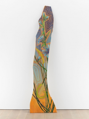 Jason Middlebrook, By The Side Of The Road, 2019, Acrylic on heat-treated artist grade elm wood, 90 x 12 x 1 inches
