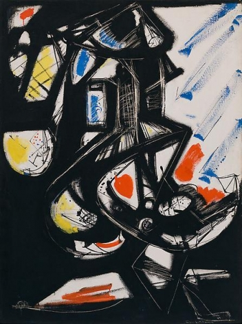 Black, Red, Yellow, 1949, Oil on canvas, 48 x 36 inches, 121.9 x 91.4 cm, A/Y#11316
