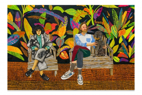Nancy, Max, and Belvedere, 2018, Oil on canvas, 60 x 84 inches, 152.4 x 213.36 cm, MMG#31508