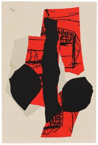 Robert Motherwell, Delos, 1990, Acrylic and pasted papers on canvas mounted on panel, 36 x 24 inches, 91.4 x 61 cm, A/Y11507