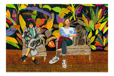 RAFFI KALENDERIAN, Nancy, Max, and Belvedere, 2018, Oil on canvas, 60 x 84 inches