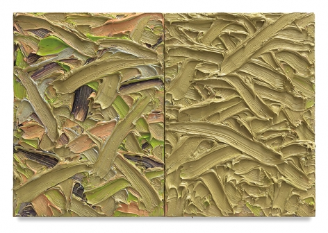 Abstract Diptych #34, 2016, Oil on canvas on wood panel, 15 x 22 inches, 38.1 x 55.9 cm, MMG#30167