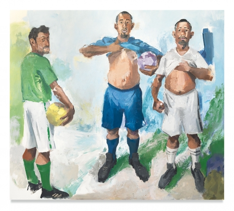 John Sonsini, Antonio, Carlos and Francisco, 2019, Oil on canvas, 80 x 90 inches, 182.9 x 121.9 cm