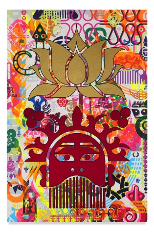 Ryan McGinness, Taipei Dangdai 5, 2019, Acrylic and metal leaf on linen, 60 x 40 inches, 152.4 x 101.6 cm, MMG#31811