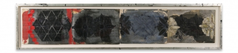 +'s & -'s #21, 2018, Oil stick, encaustic, vintage Indian paper in artist's frame, 12 3/4 x 56 1/4 inches, 32.4 x 142.9 cm, MMG#30907